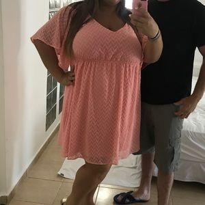 Pink cold shoulder dress